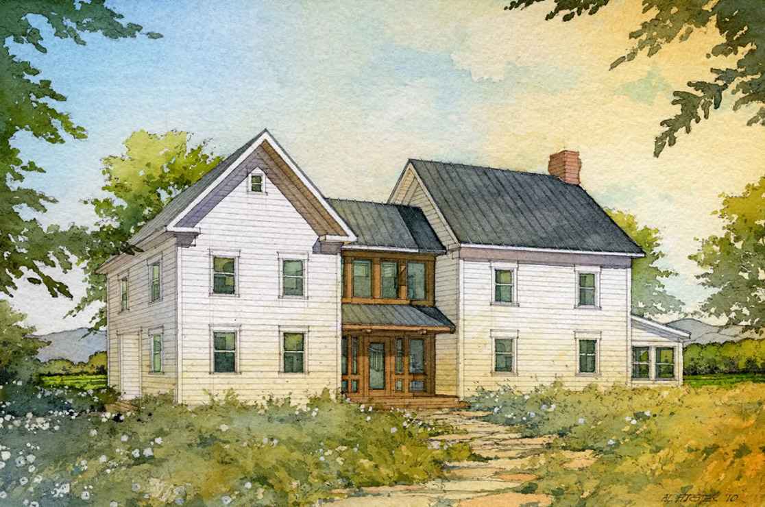 Madson Design House Plans Gallery   American Homestead Revisited     D202  Front elevation