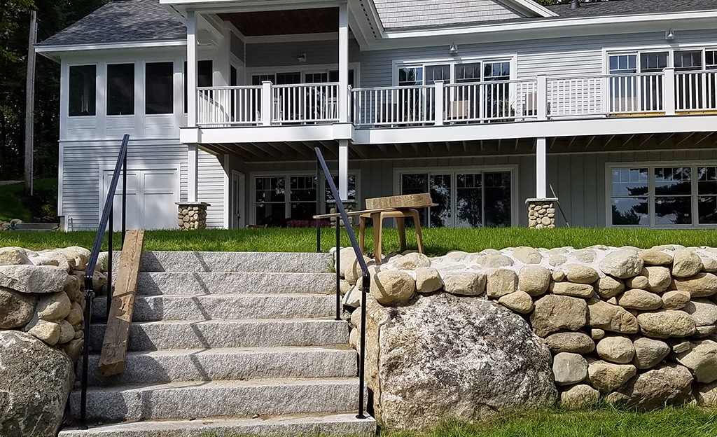 Iron Handrails Photos At Maine Architectural Ironworks | Exterior Handrails For Steps | Cast Iron | 3 Step | Brushed Nickel | Front Step Railing Pipe | Garden