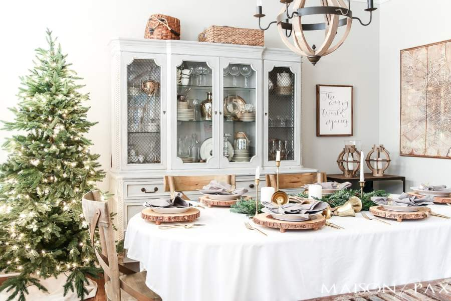 Green and Gold Christmas Tablescape   Maison de Pax green and gold with white and gray Christmas table and dining room   holidaydining