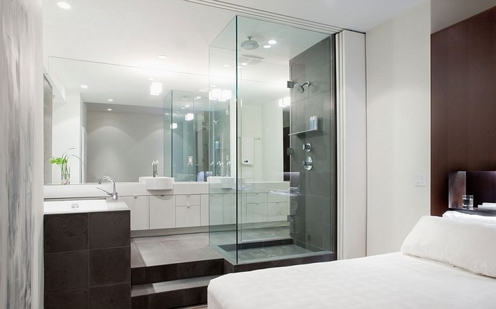 Incredible Open Bathroom Concept for Master Bedroom Glass bathroom ideas attached with bedroom master bedroom Incredible Open  Bathroom