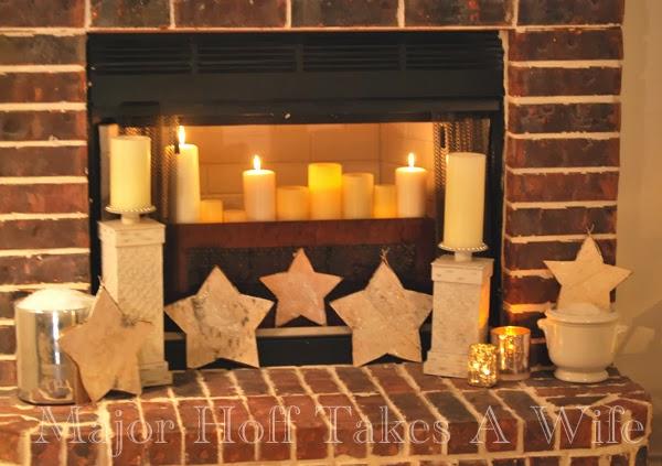 Fireplace below Stars white snow