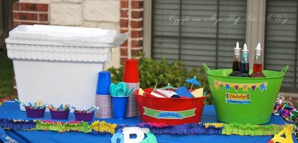 Hawaiian Shaved Ice Birthday Party Table Display with Dollar Tree Items
