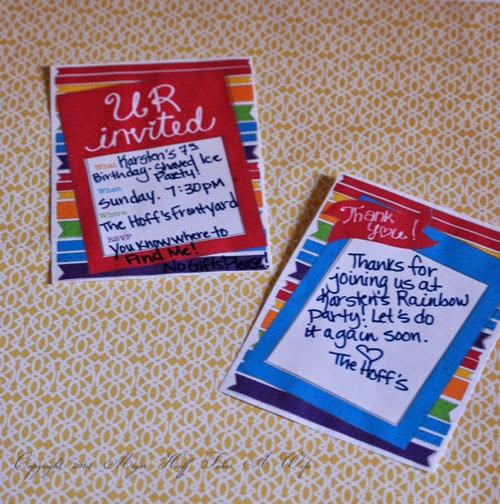 Jen Goode Rainbow Printables invite and Thank You card
