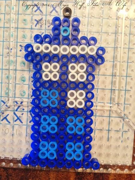 Doctor Who Tardis made of Perler Beads