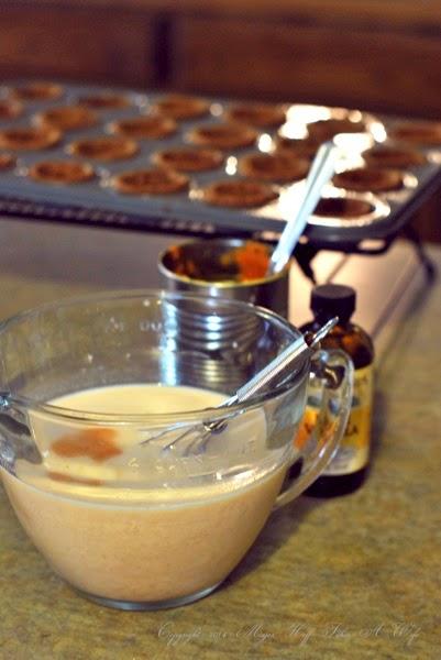 Mixing pumpkin with milk