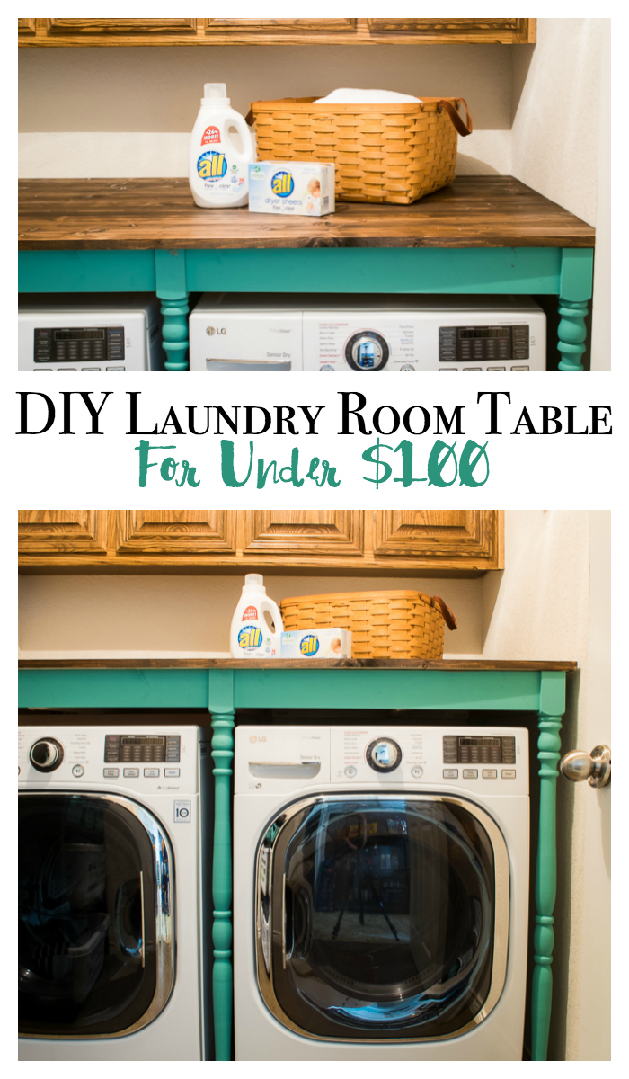 Need an oversized table for the laundry room? This step by step guide shows how you can build a table to cover your front loaders for under $100. No more lost socks falling behind! The farmhouse style is easy to customize to any color! via @mrsmajorhoff