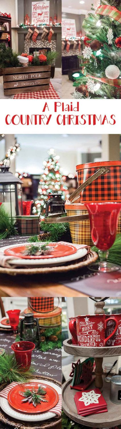 Stunning Christmas Home Tour! This Plaid Country Christmas tour features several rooms and a hot cocoa bar. Plaid Decor inspiration galore!