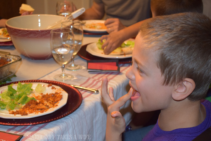 Enjoying a holiday meal of Stouffers Lasagna