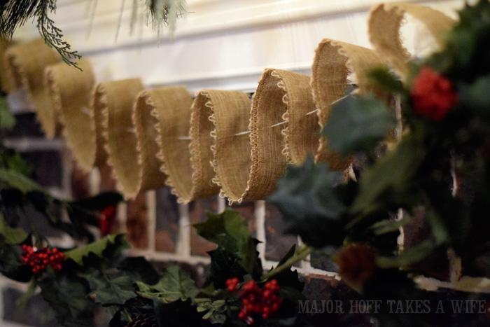 Homemade burlap garland for Christmas mantel