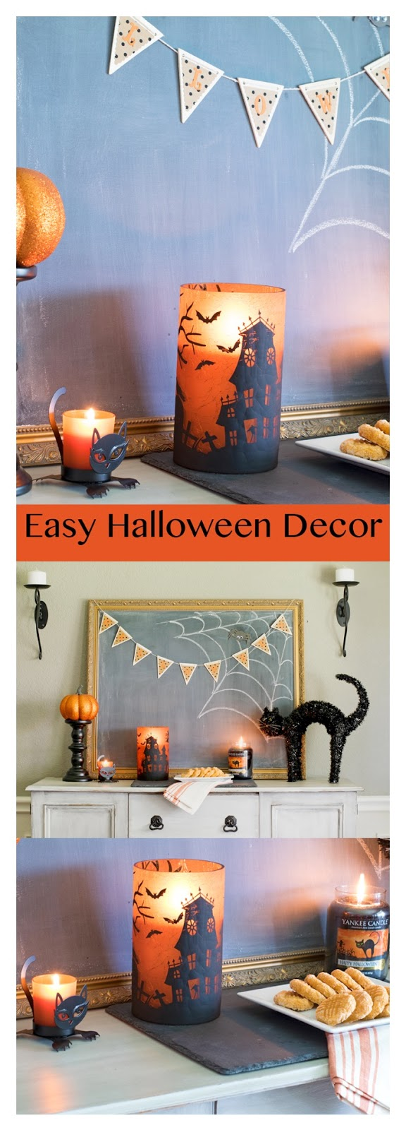 Easy Halloween Decor! Looking for a fast and inexpensive way to style a mantel, buffet or other small space? See how Yankee Candles and a few other thrifted items can make a fun and spooky spot! #halloween #decor #ad