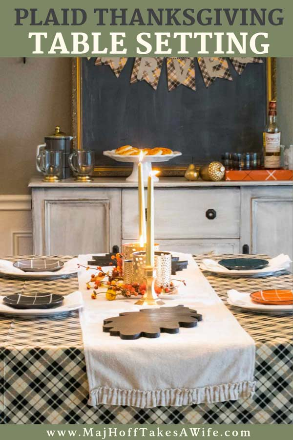 Looking for simple Thanksgiving table ideas? This elegant plaid DIY tables cape features candles, gilded candle holder centerpieces, a table runner on top of a table cloth and more! See how to add Plaid decorations to your place settings to get a classic timeless look. The hints of gold will really make your dining room shine! #Thanksgiving #tablescape #MHTAW via @mrsmajorhoff