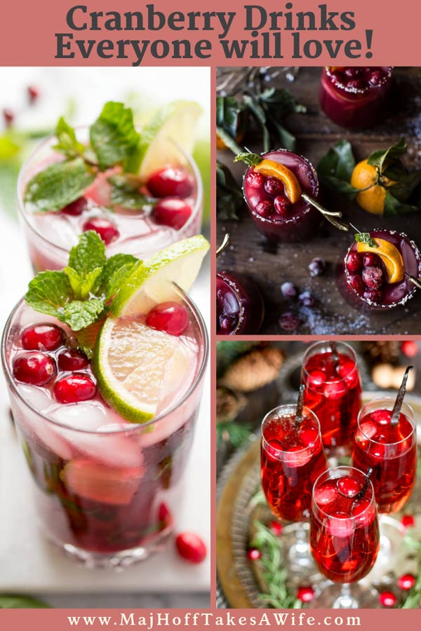 This collection of cranberry drinks covers ALL the drinks you'll want for Thanksgiving and Christmas! Features some with alcohol or with nonalcoholic twists. Wow your guests with these fabulous colorful drinks with everything from vodka to rum to Moscow mules - hot and warm- cold and fresh - from cockatils to tea! So grab the recipes and some ginger ale, and let's start mixing it up! #christmascocktails #Thanksgivingcocktails #Christmas #cranberrydrink via @mrsmajorhoff