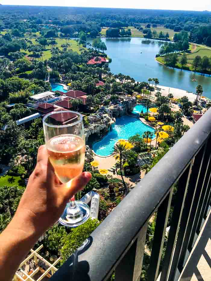 Champagne balcony view Hyatt Regency Grand Cypress as part of things to do in Orlando for a Girls Getaway