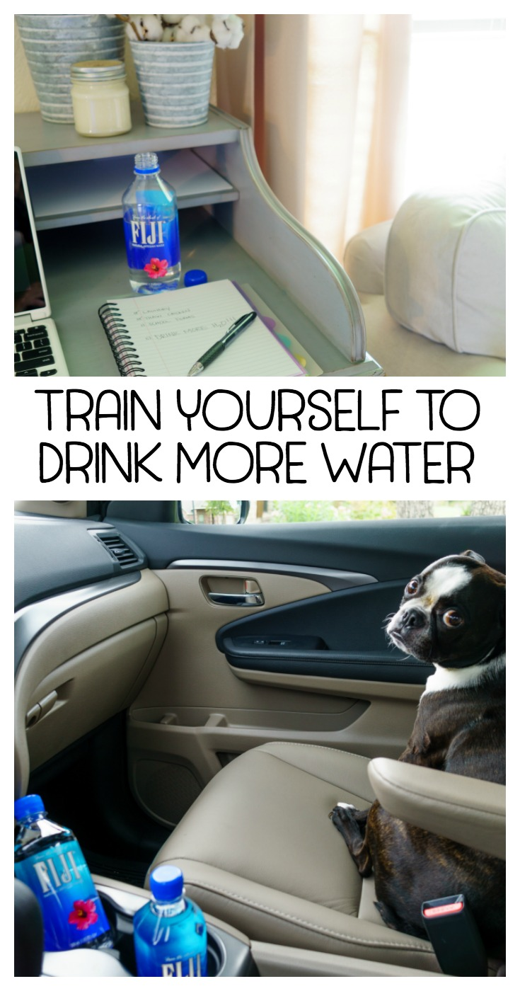 Train yourself to drink more water! Easy to implement tips and tricks to increase your daily water intake. Enjoy the benefits of drinking water! #ad #FIJIWater @FijiWater via @mrsmajorhoff