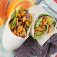 Grab a chicken avocado wrap for a quick lunch full of protein. Using precooked grilled chicken slices and a few ingredients, you can meal prep this lunch ahead of time. Simply stuff the tortilla with chicken and avocado, throw in some veggies and you are all set!