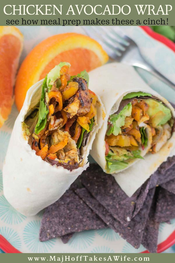 Grab a chicken avocado wrap for a quick lunch full of protein. Using precooked grilled chicken slices and a few ingredients, you can meal prep this lunch ahead of time. Simply stuff the tortilla with chicken and avocado, throw in some veggies and you are all set! #MealPrep #Chickendinner #FastLunch #avocado @TysonBrand #ad via @mrsmajorhoff