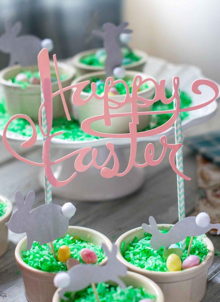 coconut cream dessert pots with Happy Easter Banner