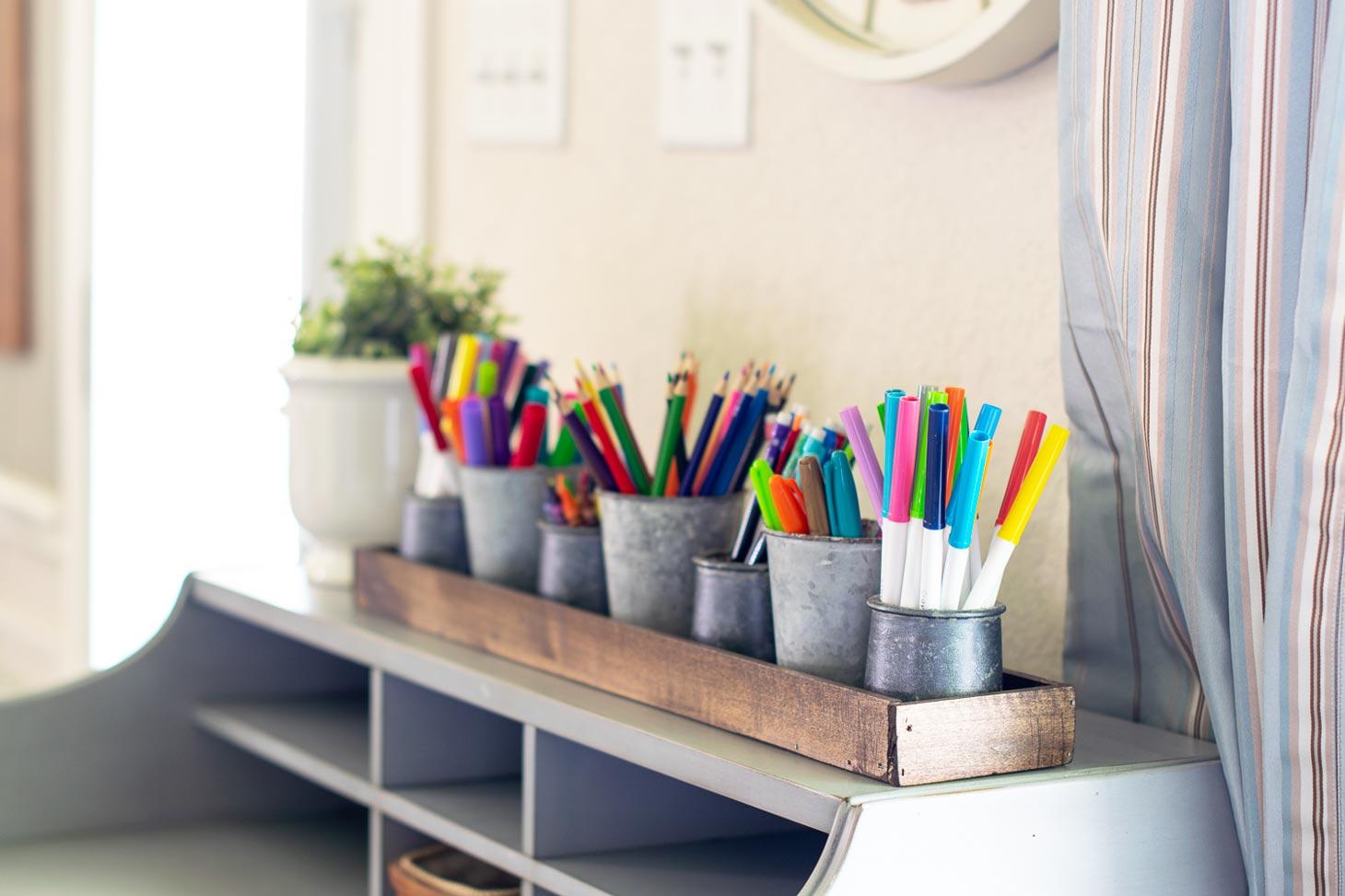 organize school supplies with this wooden desk organizer