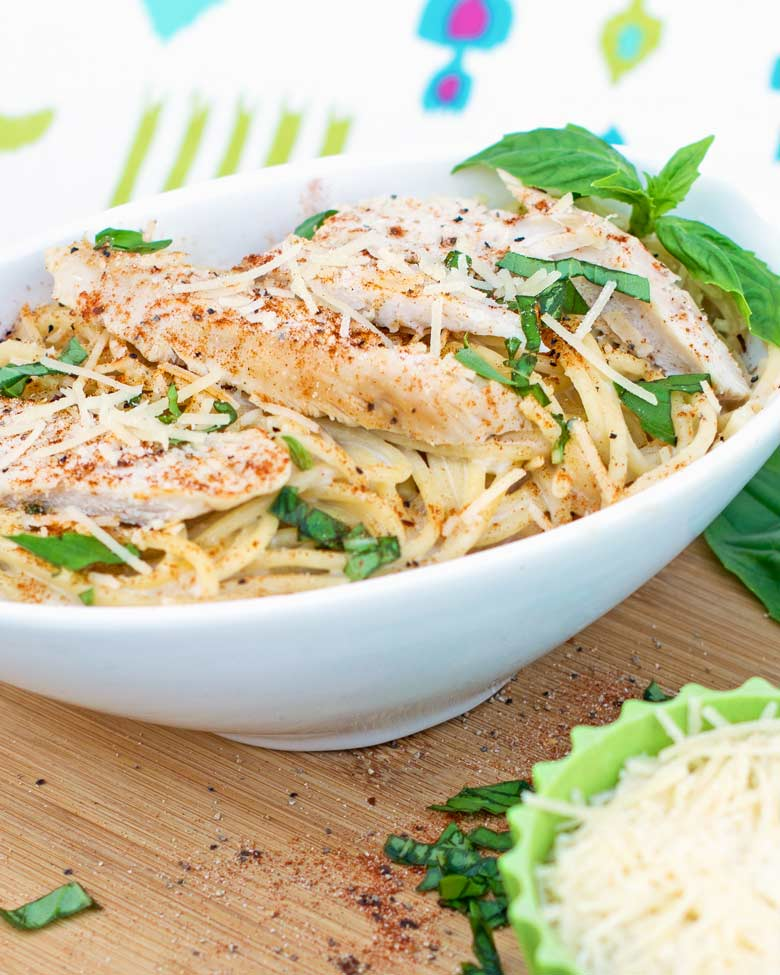 blackened chicken alfredo recipe in a bowl for a quick weeknight meal