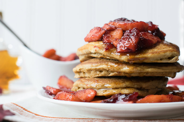Ginger Pancakes with cranberry apple compote