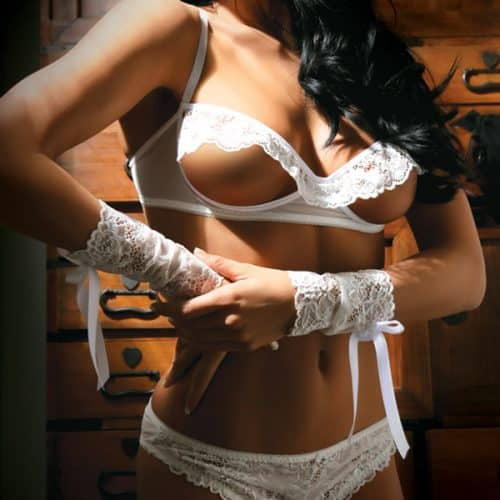 FOREVER YOURS BRA PANTY & GLOVES WHITE OS