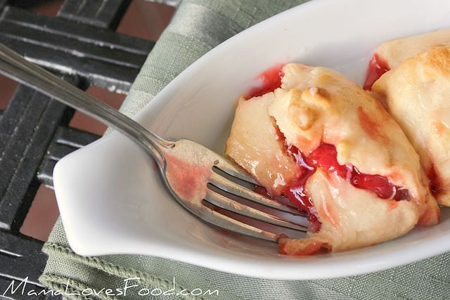 Mini Cherry Pie Pockets with Vanilla Sugar Drizzle