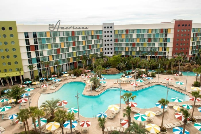 Zero entry pool and lazy river at Cabana Bay Beach Resort in Orlando Florida Universal Studios
