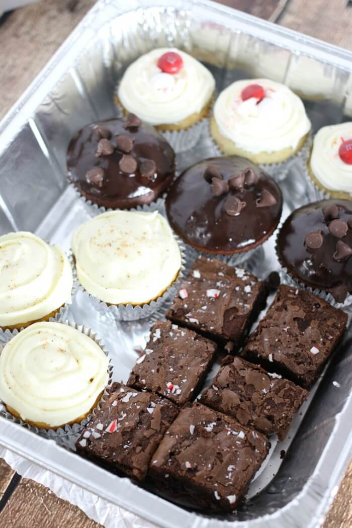 peppermint brownie and cupcake