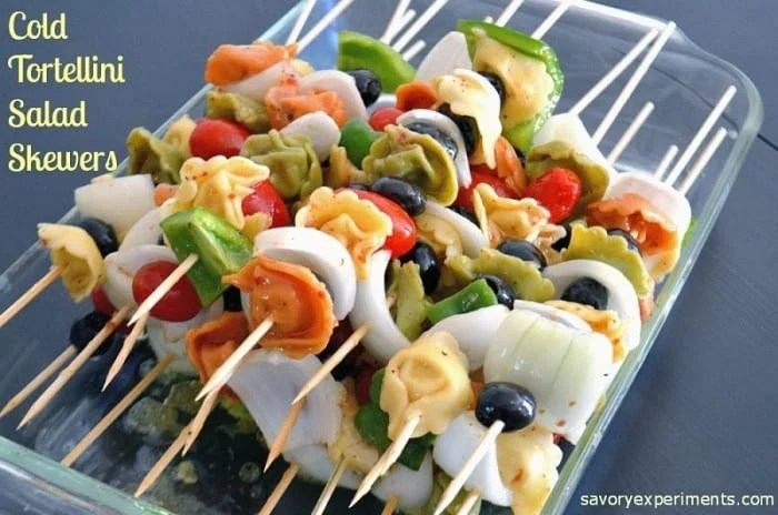 Cold Tortellini Salad Skewers