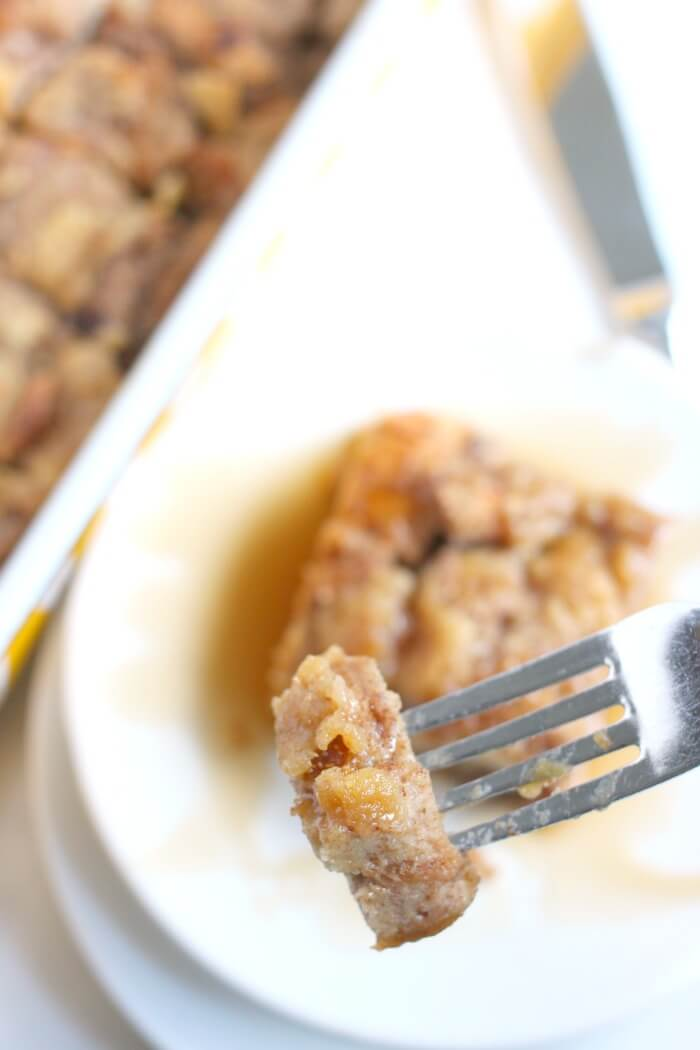 FRENCH TOAST CASSEROLE ON A FORK