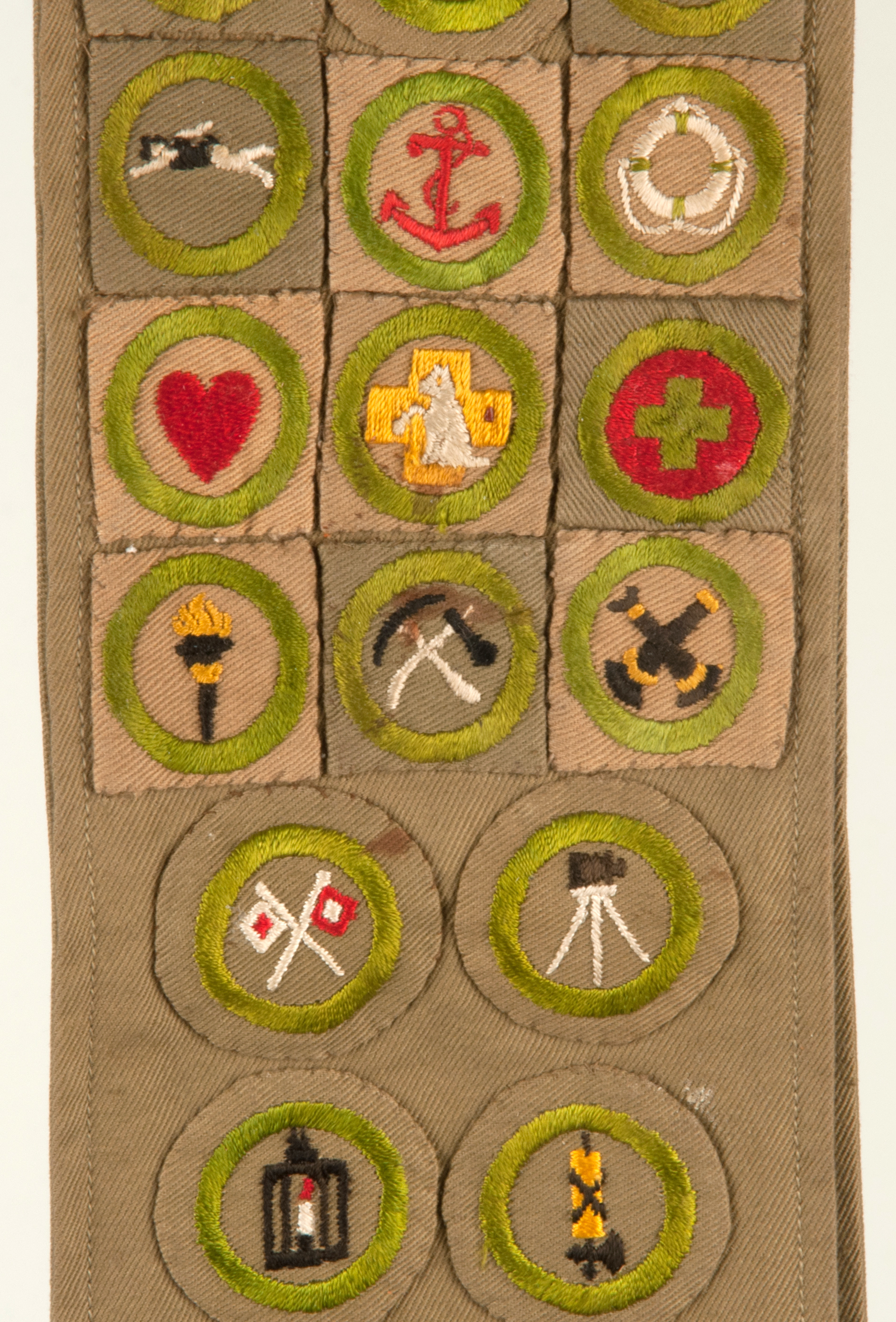 1920s Boy Scout Sash With 19 Merit Badges And 4 Felt Camp