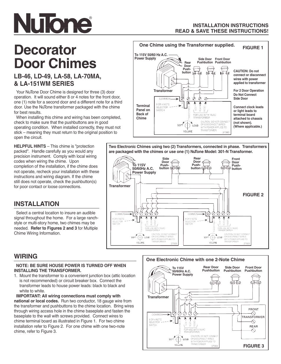 Vintage Nutone Doorbell Chime Wiring Diagrams