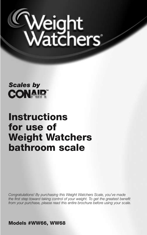 Conair Weight Watchers Bathroom Scale Ww66 User Manual