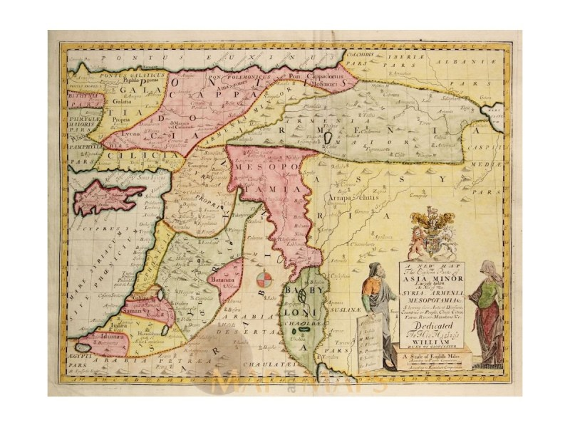 A New Map of the Eastern Parts of Asia Minor by Wells   Mapandmaps Middle East old map Eastern Parts of Asia Minor Wells 1712