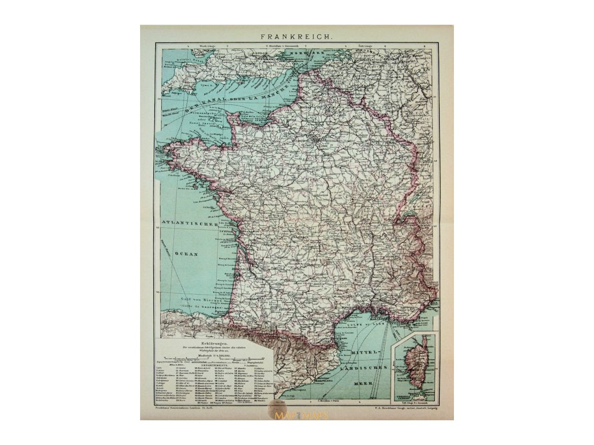 Antique Old detailed Map of France  1905   Mapandmaps Antique Old detailed Map of France  1905