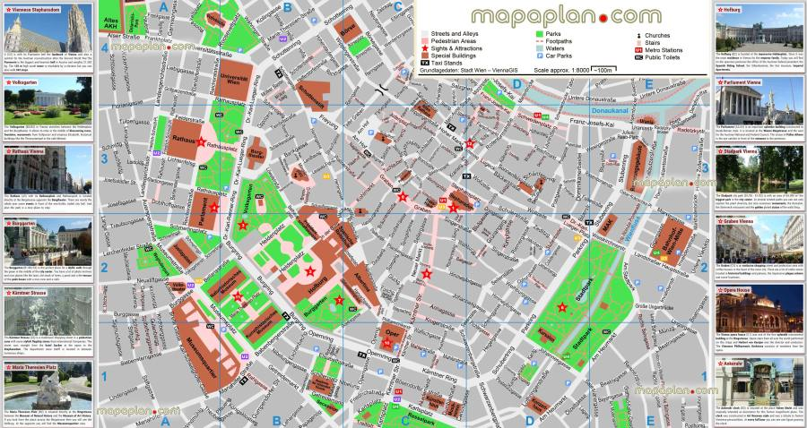 Vienna maps   Top tourist attractions   Free  printable city street     Vienna inner city tourist map with top 10 attractions   Historic old town  plan showing main points of interest  landmarks  museums including  Stephansplatz