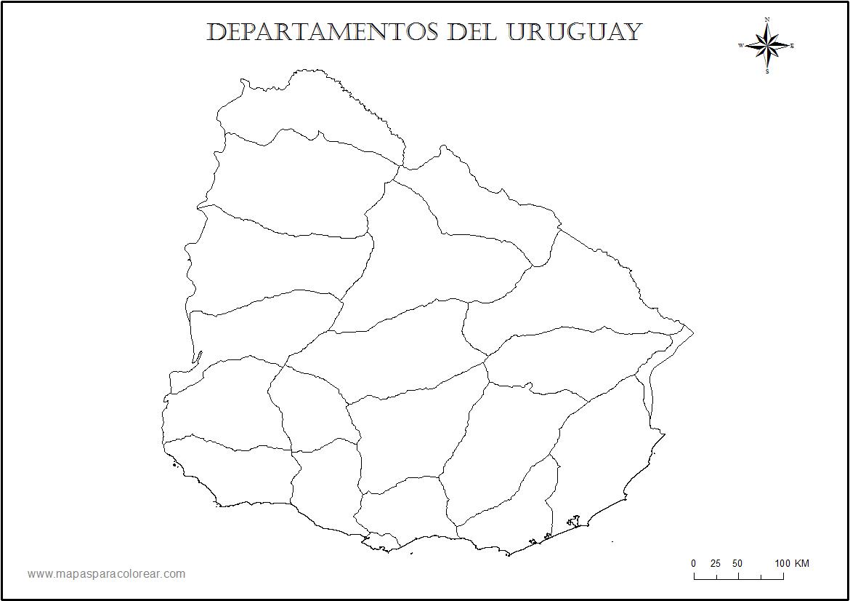 Mapa De Colorear Para Urugual