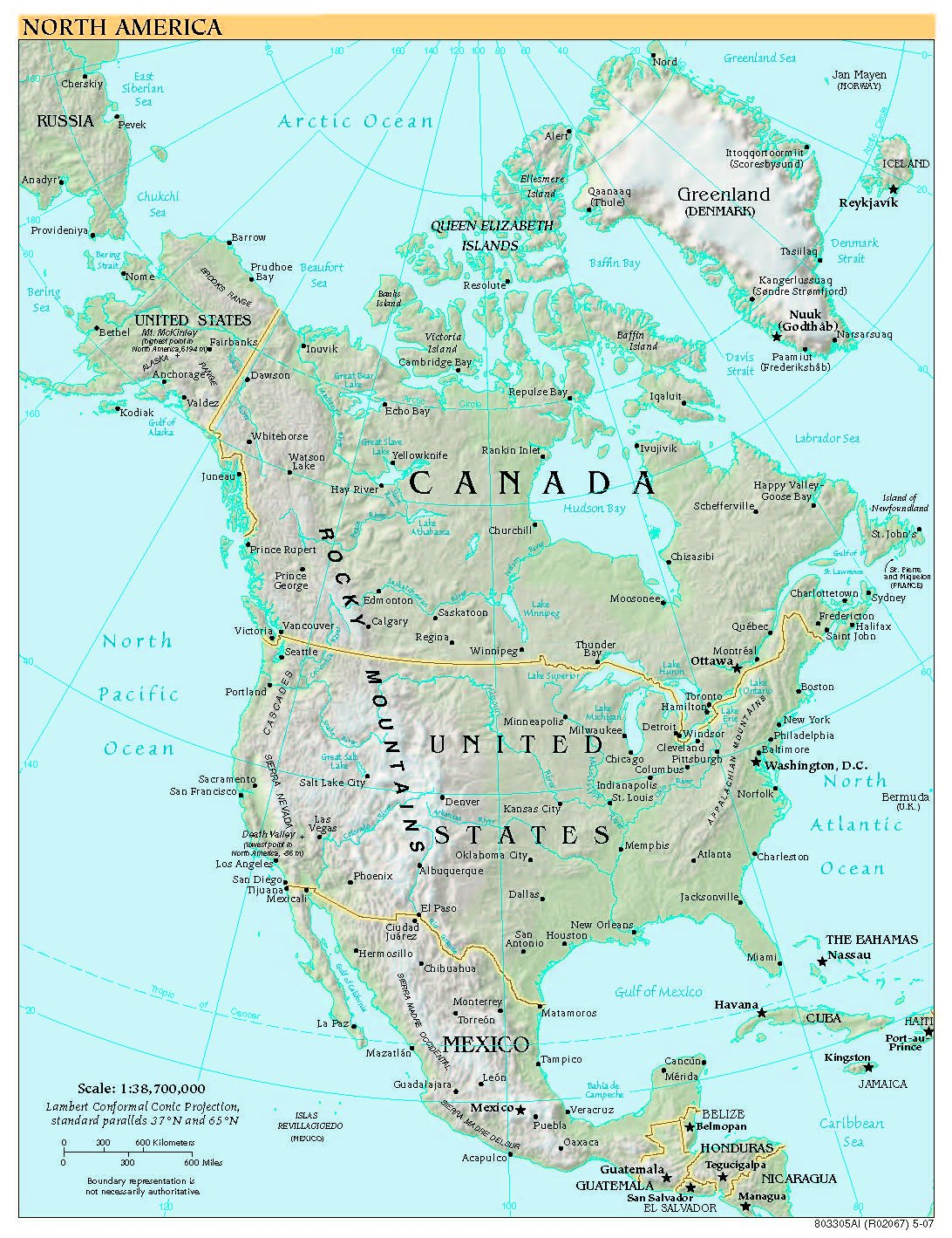 Free High Resolution Map of North America
