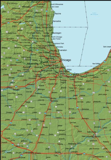 Detailed Indiana Area Road Map   Indiana     mappery