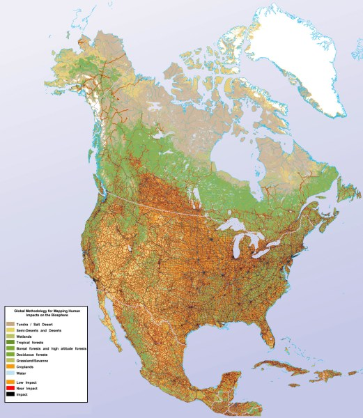 Maps of North America and North American countries   Political maps     Detailed human impact map of North America