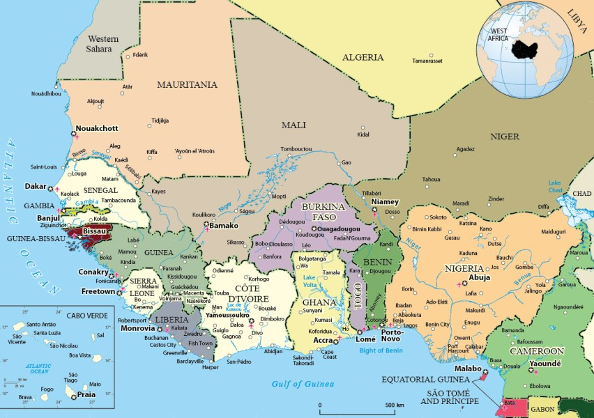 Political Map of West Africa Maps World   Political Map of West Africa  Gulf of Guinea  Nigeria  Cote  d Ivoire and Sierra Leoa