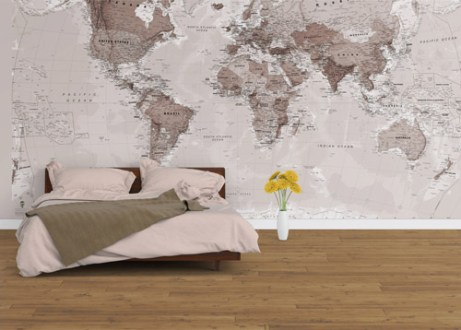 World Map Wallpaper     Designs To Suit Any Home   Maps International Blog Neutral World Map Wallpaper