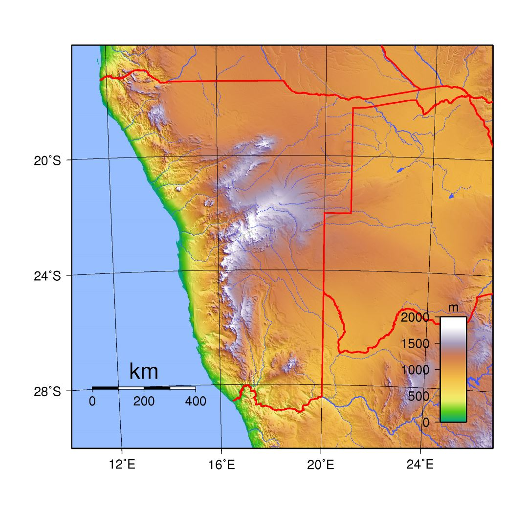 Topographic Map Namibia