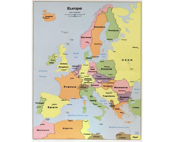 Maps of Europe and European countries   Political maps  Road and     In high resolution detailed political map of Europe with the marks of  capitals  large cities
