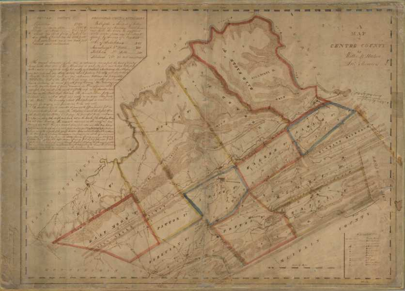 Pennsylvania Early Couny Map List An example of a Whiteside map is this image of Centre County
