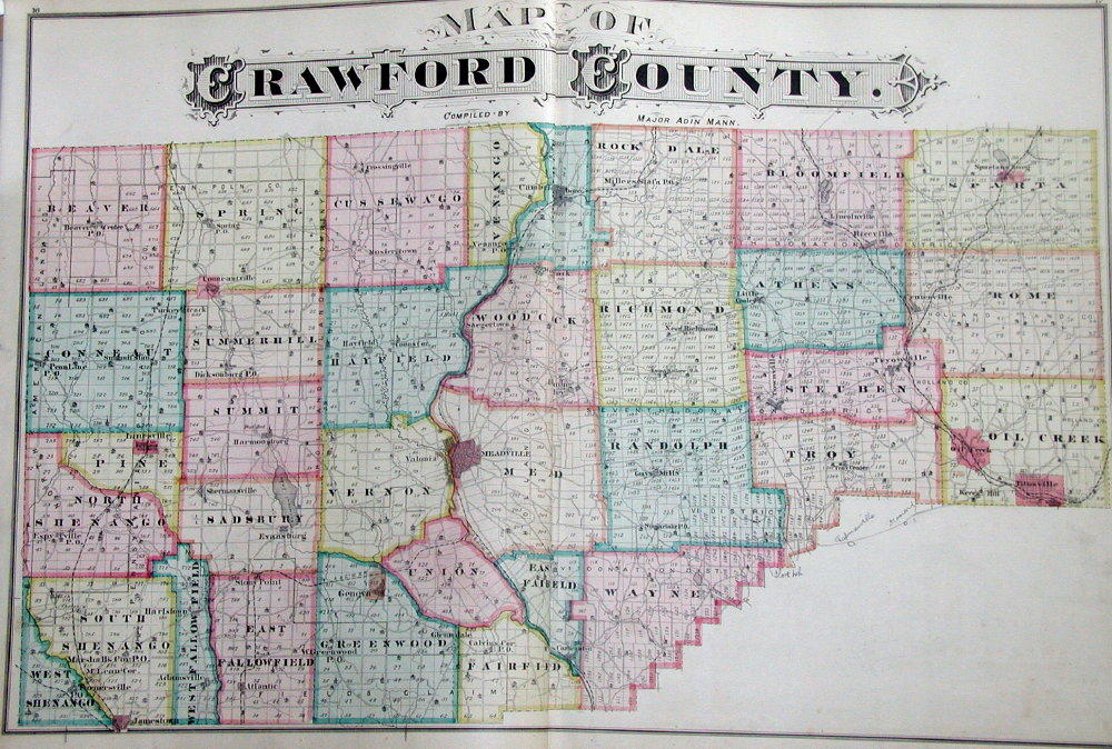 Pennsylvania County Atlas Sampler A County Map All of the atlases include a county map  here is the one in  the Crawford County atlas  This county  located in the northwest  was  surveyed in