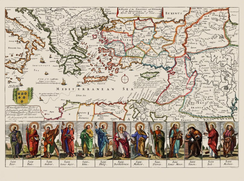 Old Mediterranean Map   Apostles Travels  Voyages 1680 Double tap to zoom