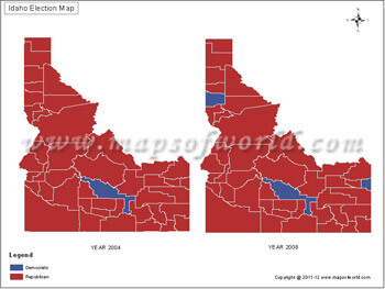US Election Maps Idaho Election Results Map 2004 Vs 2008