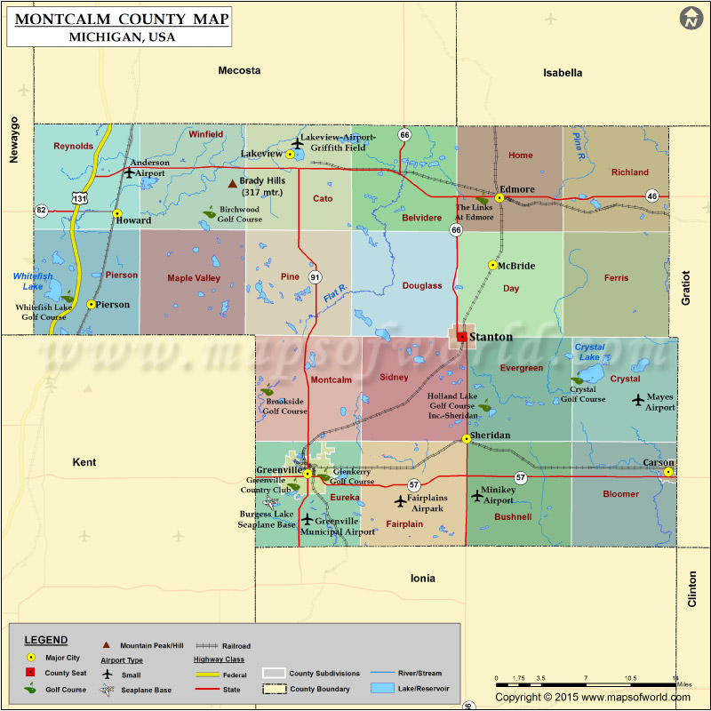 Montcalm County Map Michigan