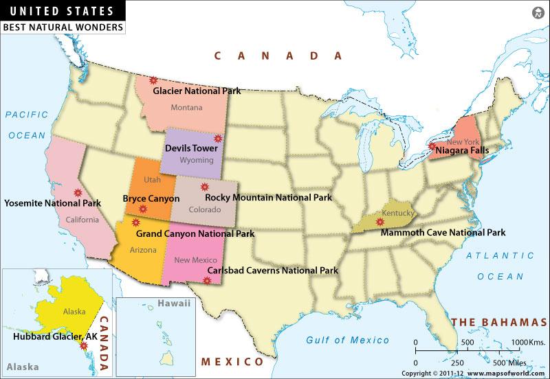 Map Usa Showing Grand Canyon